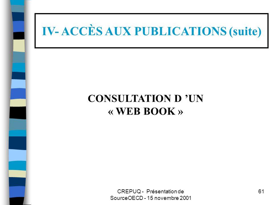 CREPUQ - Présentation de SourceOECD - 15 novembre 2001 61 IV- ACCÈS AUX PUBLICATIONS (suite) CONSULTATION D UN « WEB BOOK »