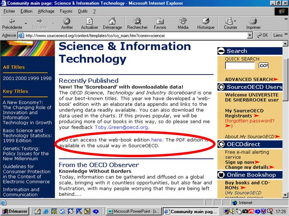 CREPUQ - Présentation de SourceOECD - 15 novembre 2001 63