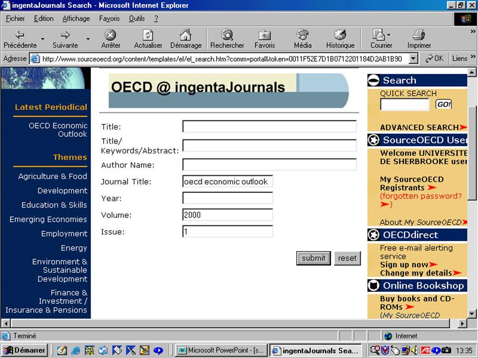CREPUQ - Présentation de SourceOECD - 15 novembre 2001 69