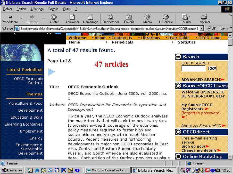CREPUQ - Présentation de SourceOECD - 15 novembre 2001 70 47 articles