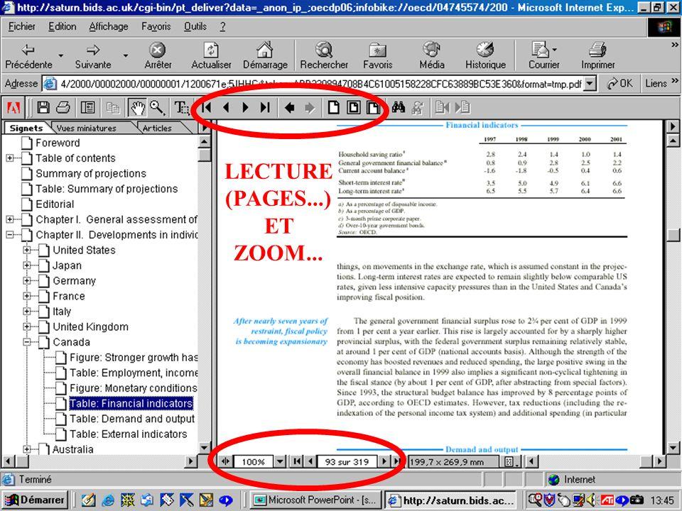CREPUQ - Présentation de SourceOECD - 15 novembre 2001 72 LECTURE (PAGES...) ET ZOOM...