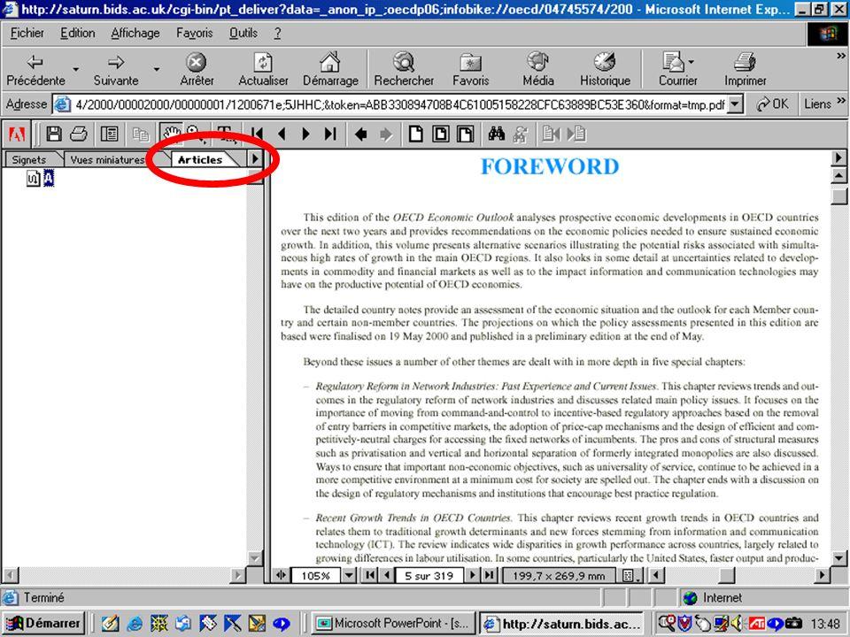 CREPUQ - Présentation de SourceOECD - 15 novembre 2001 74