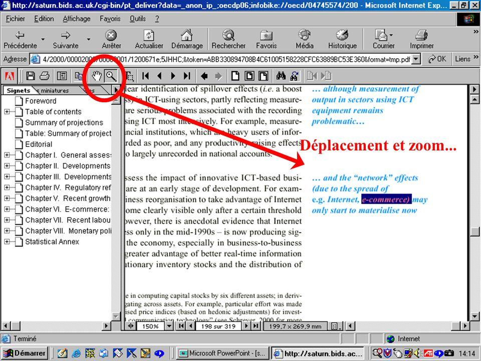 CREPUQ - Présentation de SourceOECD - 15 novembre 2001 77 Déplacement et zoom...