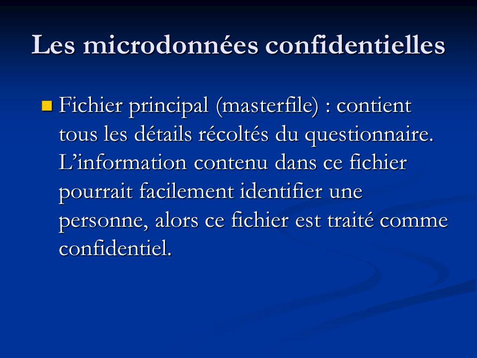 Les microdonnées confidentielles Fichier principal (masterfile) : contient tous les détails récoltés du questionnaire.