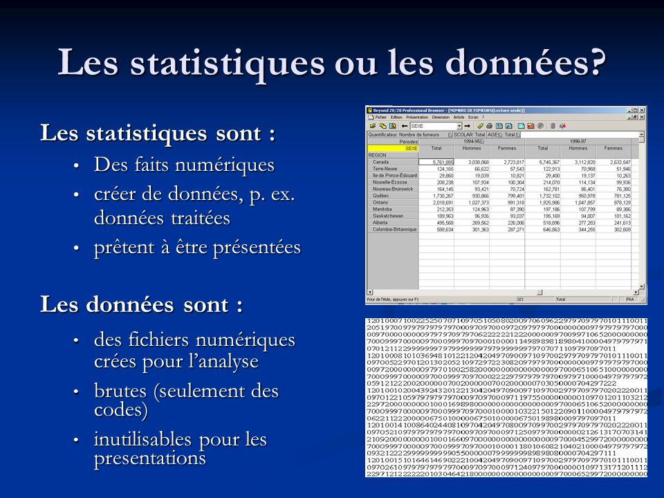 Les statistiques ou les données.