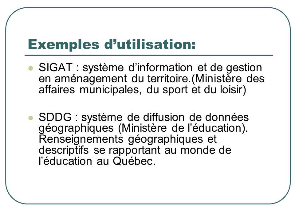 Exemples dutilisation: SIGAT : système dinformation et de gestion en aménagement du territoire.(Ministère des affaires municipales, du sport et du loisir) SDDG : système de diffusion de données géographiques (Ministère de léducation).