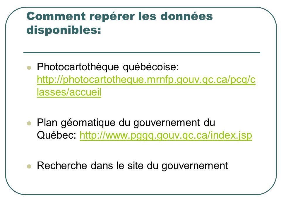 Comment repérer les données disponibles: Photocartothèque québécoise: http://photocartotheque.mrnfp.gouv.qc.ca/pcq/c lasses/accueil http://photocartotheque.mrnfp.gouv.qc.ca/pcq/c lasses/accueil Plan géomatique du gouvernement du Québec: http://www.pggq.gouv.qc.ca/index.jsphttp://www.pggq.gouv.qc.ca/index.jsp Recherche dans le site du gouvernement