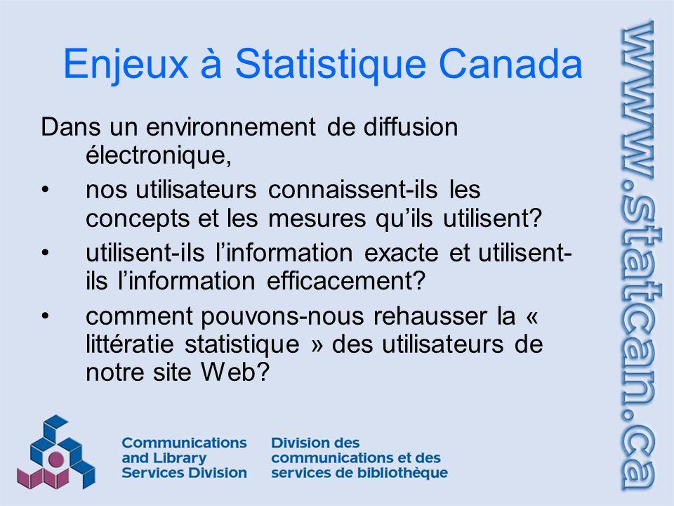 Enjeux à Statistique Canada Dans un environnement de diffusion électronique, nos utilisateurs connaissent-ils les concepts et les mesures quils utilisent.