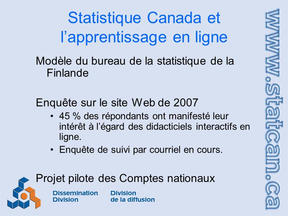 Statistique Canada et lapprentissage en ligne Modèle du bureau de la statistique de la Finlande Enquête sur le site Web de 2007 45 % des répondants ont manifesté leur intérêt à légard des didacticiels interactifs en ligne.