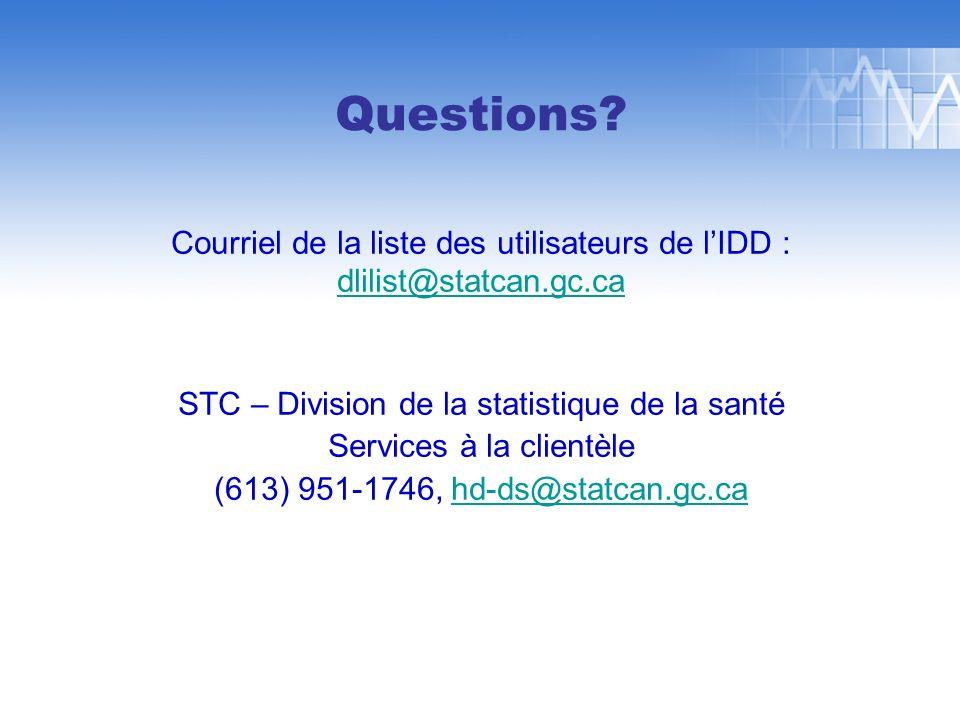 Questions? Courriel de la liste des utilisateurs de lIDD : dlilist@statcan.gc.ca STC – Division de la statistique de la santé Services à la clientèle