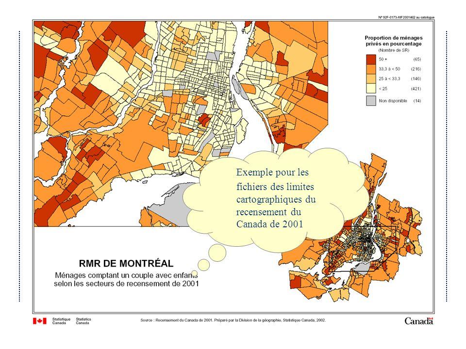 Avril 2004Atelier IDD 2004 du Québec Exemple pour les fichiers des limites cartographiques du recensement du Canada de 2001