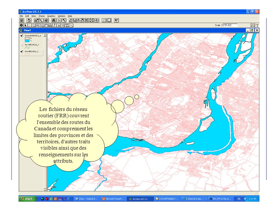 Avril 2004Atelier IDD 2004 du Québec Les fichiers du réseau routier (FRR) couvrent l ensemble des routes du Canada et comprennent les limites des provinces et des territoires, d autres traits visibles ainsi que des renseignements sur les attributs.