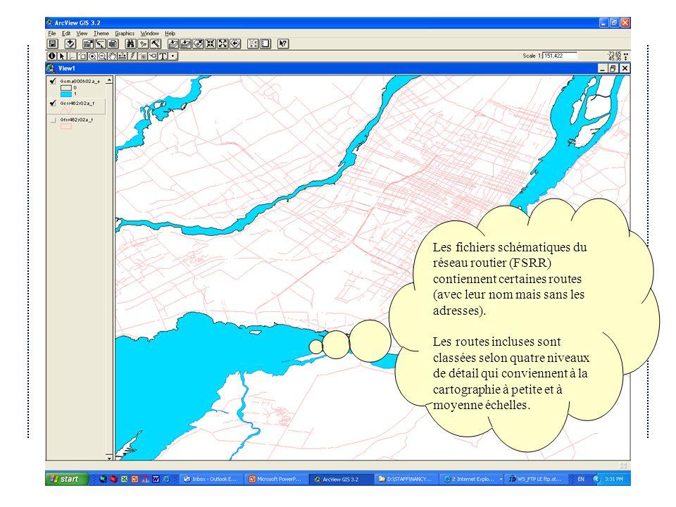 Avril 2004Atelier IDD 2004 du Québec Les fichiers schématiques du réseau routier (FSRR) contiennent certaines routes (avec leur nom mais sans les adresses).