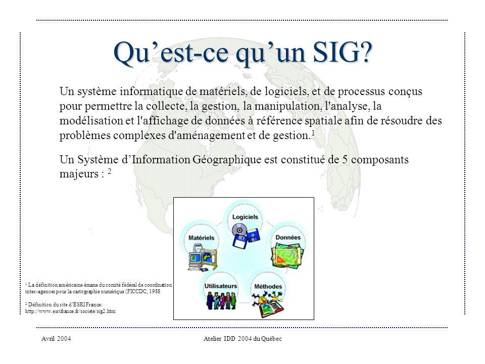 Avril 2004Atelier IDD 2004 du Québec Quest-ce quun SIG.