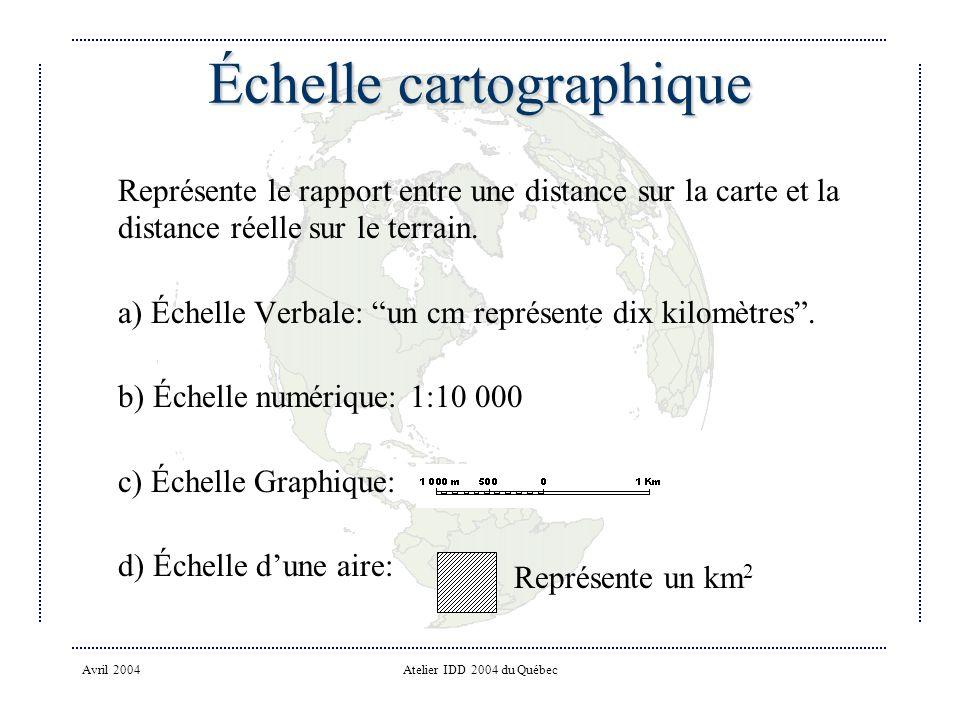 Avril 2004Atelier IDD 2004 du Québec Échelle cartographique Représente le rapport entre une distance sur la carte et la distance réelle sur le terrain.