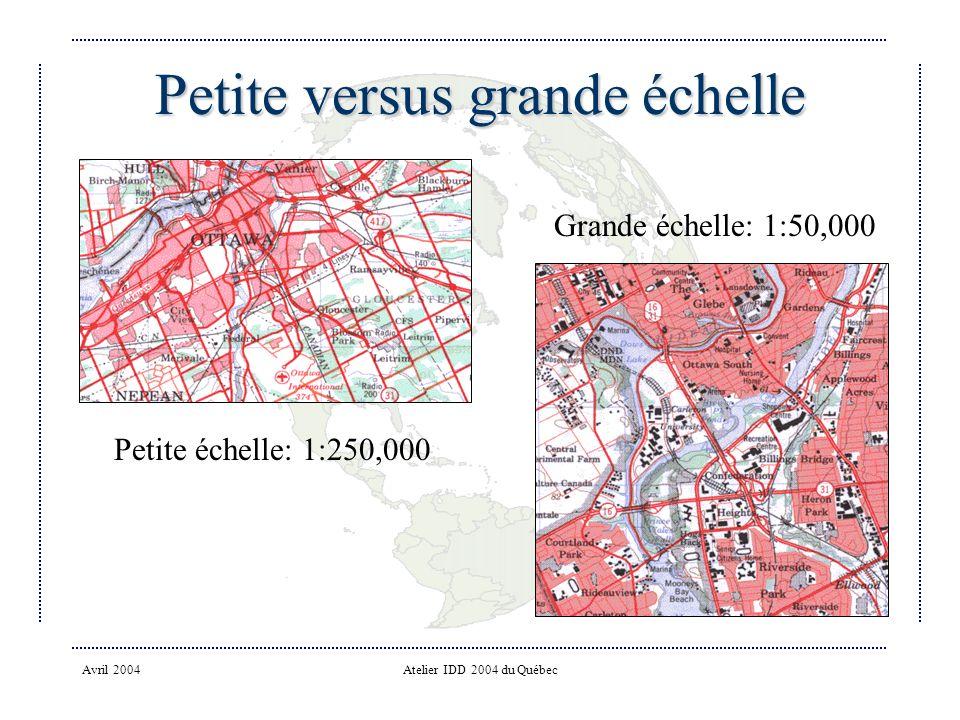 Avril 2004Atelier IDD 2004 du Québec Petite versus grande échelle Petite échelle: 1:250,000 Grande échelle: 1:50,000