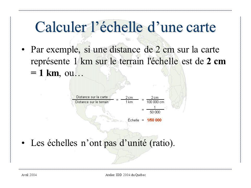 Avril 2004Atelier IDD 2004 du Québec Calculer léchelle dune carte Par exemple, si une distance de 2 cm sur la carte représente 1 km sur le terrain l échelle est de 2 cm = 1 km, ou… Les échelles nont pas dunité (ratio).