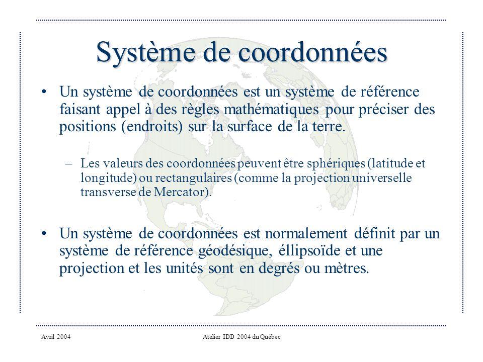 Avril 2004Atelier IDD 2004 du Québec Système de coordonnées Un système de coordonnées est un système de référence faisant appel à des règles mathématiques pour préciser des positions (endroits) sur la surface de la terre.