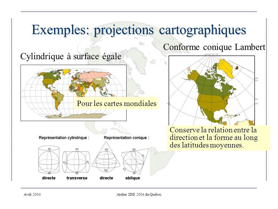 Avril 2004Atelier IDD 2004 du Québec Exemples: projections cartographiques Cylindrique à surface égale Conforme conique Lambert Pour les cartes mondiales Conserve la relation entre la direction et la forme au long des latitudes moyennes.
