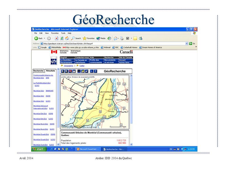 Avril 2004Atelier IDD 2004 du Québec GéoRecherche