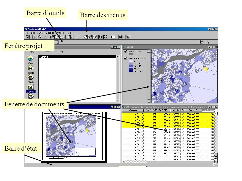 Fenêtre projet Barre des menus Barre doutils Fenêtre de documents Barre détat