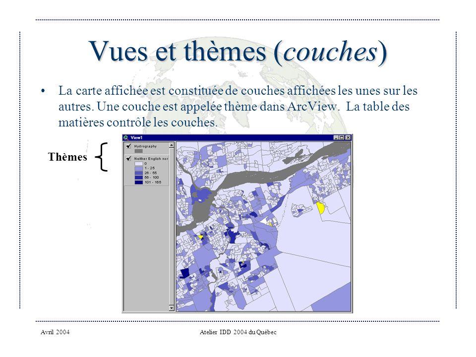 Avril 2004Atelier IDD 2004 du Québec Vues et thèmes (couches) La carte affichée est constituée de couches affichées les unes sur les autres.
