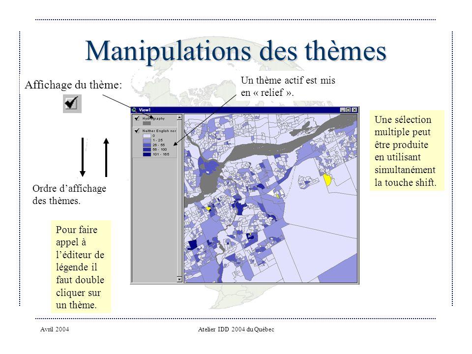Avril 2004Atelier IDD 2004 du Québec Manipulations des thèmes Ordre daffichage des thèmes.