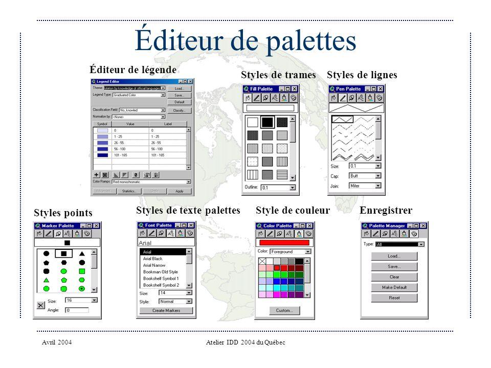 Avril 2004Atelier IDD 2004 du Québec Éditeur de palettes Styles de trames Styles de lignes Enregistrer Style de couleurStyles de texte palettes Styles points Éditeur de légende