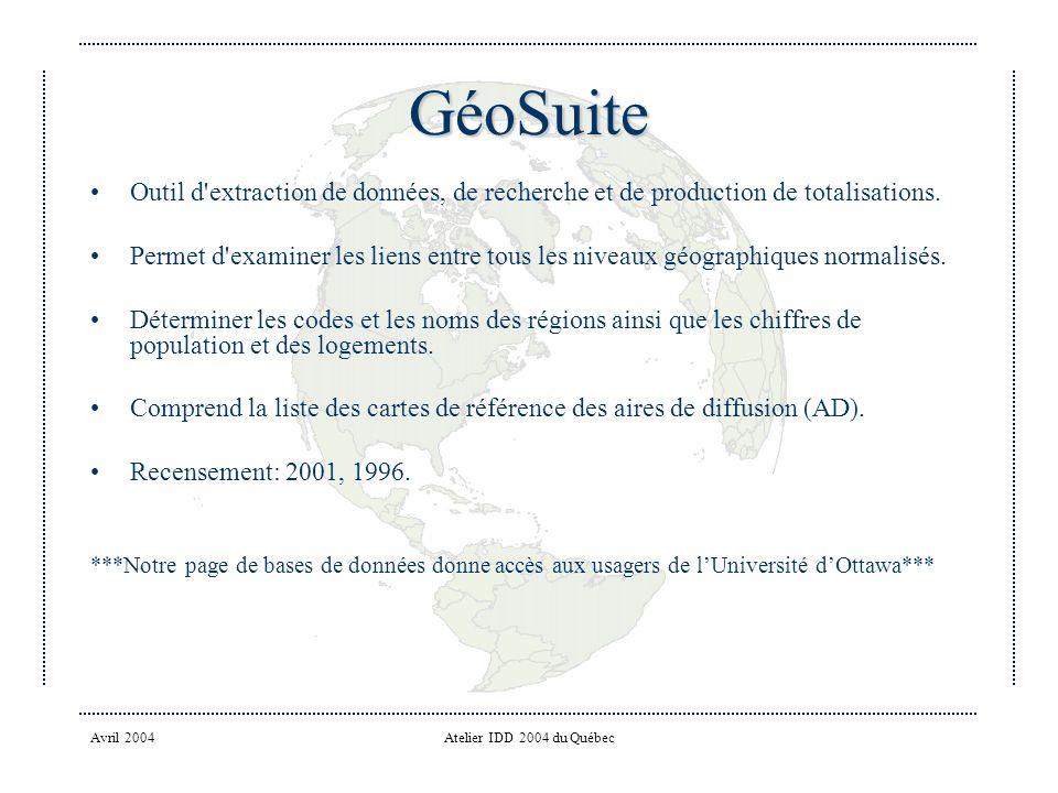 Avril 2004Atelier IDD 2004 du Québec GéoSuite Outil d extraction de données, de recherche et de production de totalisations.