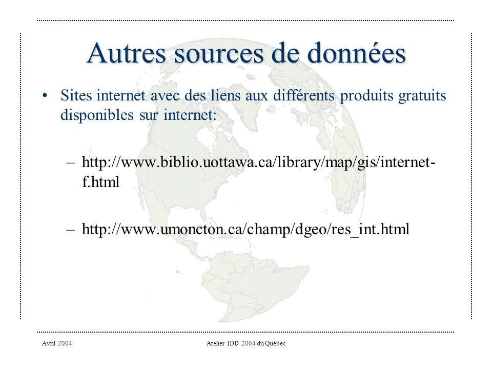 Avril 2004Atelier IDD 2004 du Québec Autres sources de données Sites internet avec des liens aux différents produits gratuits disponibles sur internet: –http://www.biblio.uottawa.ca/library/map/gis/internet- f.html –http://www.umoncton.ca/champ/dgeo/res_int.html