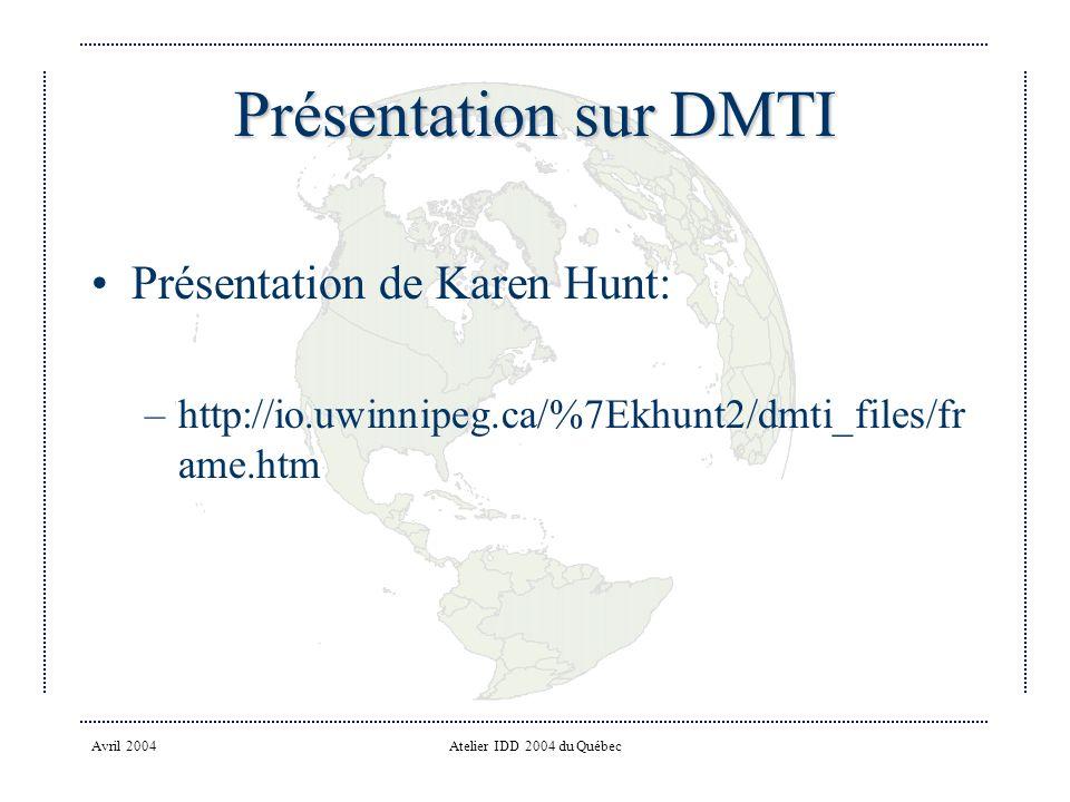 Avril 2004Atelier IDD 2004 du Québec Présentation sur DMTI Présentation de Karen Hunt: –http://io.uwinnipeg.ca/%7Ekhunt2/dmti_files/fr ame.htm