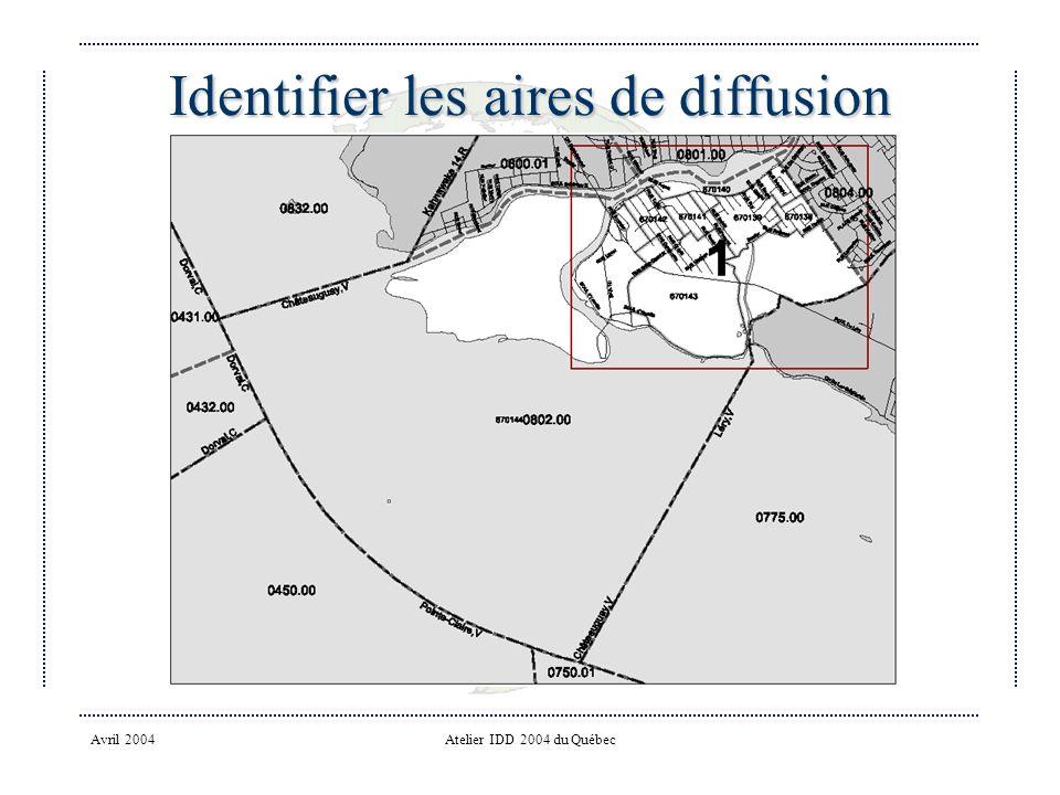Avril 2004Atelier IDD 2004 du Québec Identifier les aires de diffusion