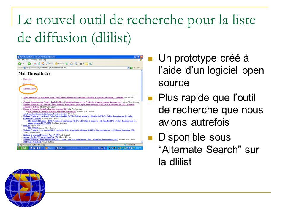 Le nouvel outil de recherche pour la liste de diffusion (dlilist) Un prototype créé à laide dun logiciel open source Plus rapide que loutil de recherche que nous avions autrefois Disponible sous Alternate Search sur la dlilist