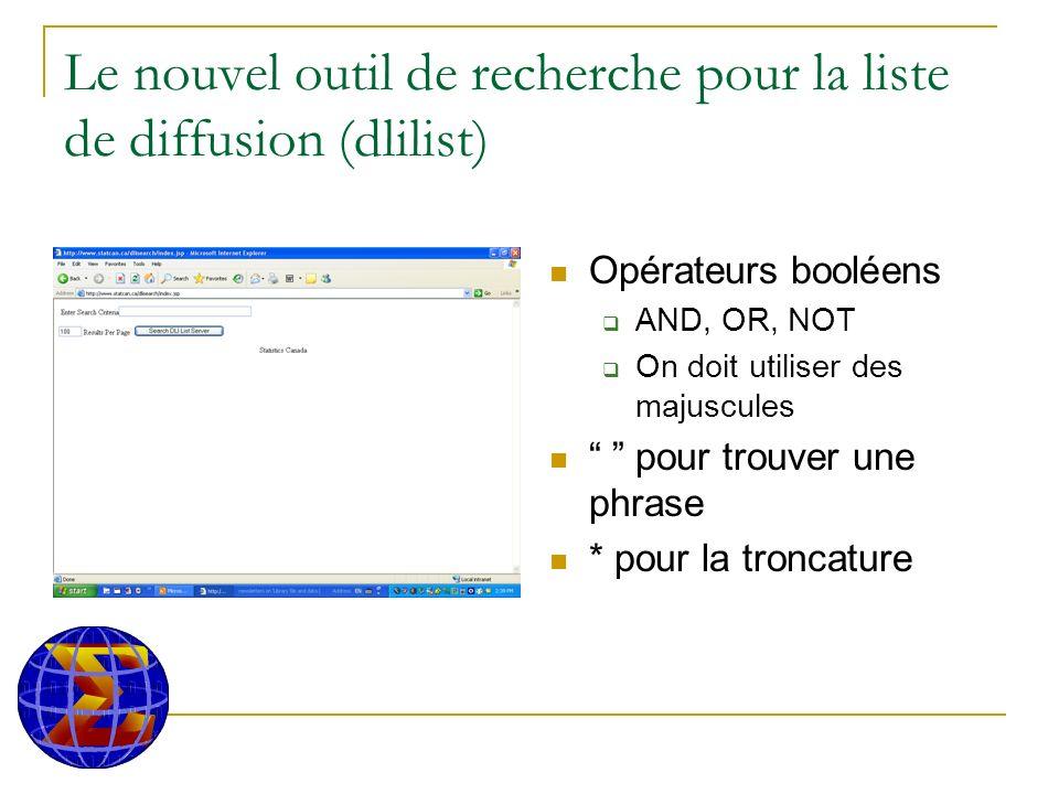 Le nouvel outil de recherche pour la liste de diffusion (dlilist) Opérateurs booléens AND, OR, NOT On doit utiliser des majuscules pour trouver une phrase * pour la troncature