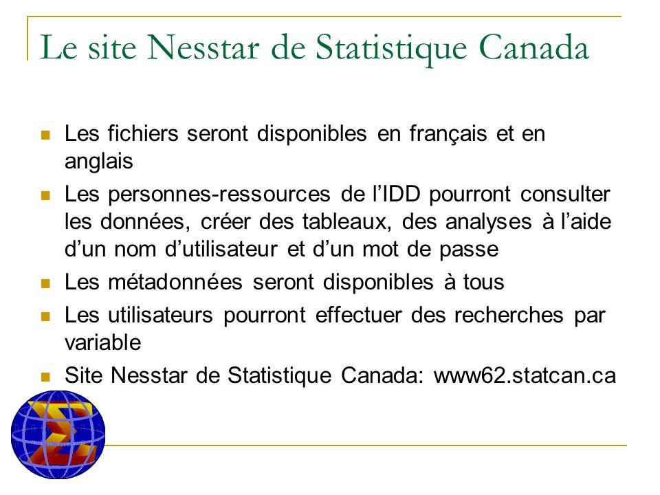Le site Nesstar de Statistique Canada Les fichiers seront disponibles en français et en anglais Les personnes-ressources de lIDD pourront consulter les données, créer des tableaux, des analyses à laide dun nom dutilisateur et dun mot de passe Les métadonnées seront disponibles à tous Les utilisateurs pourront effectuer des recherches par variable Site Nesstar de Statistique Canada: www62.statcan.ca