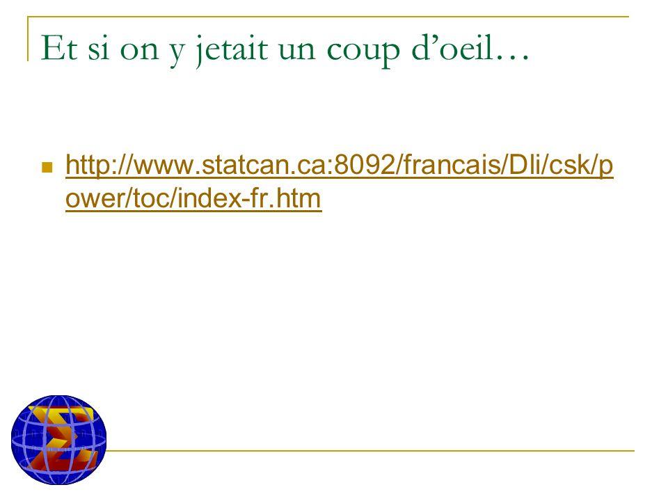 Et si on y jetait un coup doeil… http://www.statcan.ca:8092/francais/Dli/csk/p ower/toc/index-fr.htm http://www.statcan.ca:8092/francais/Dli/csk/p ower/toc/index-fr.htm