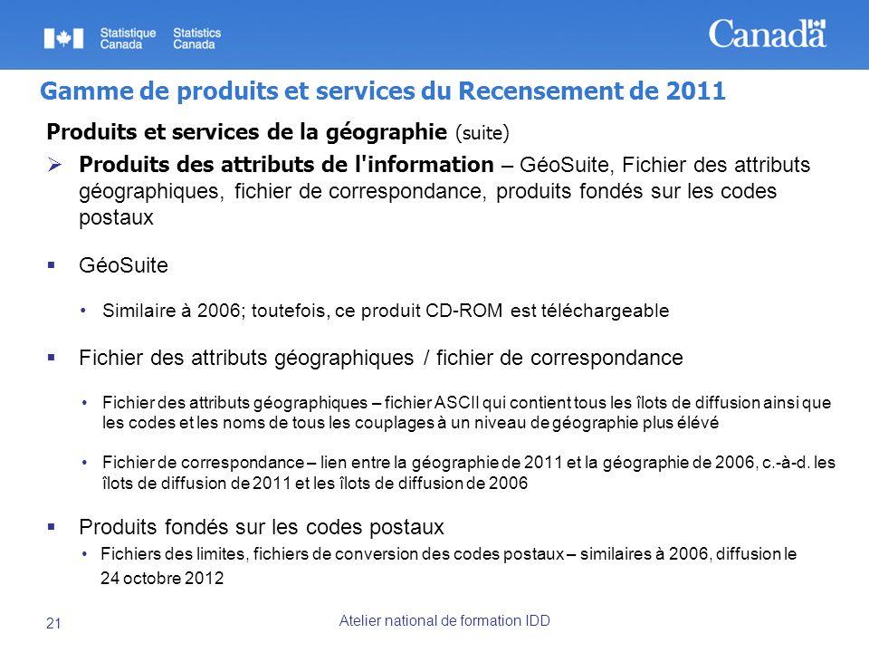 Atelier national de formation IDD 21 Gamme de produits et services du Recensement de 2011 Produits et services de la géographie (suite) Produits des attributs de l information – GéoSuite, Fichier des attributs géographiques, fichier de correspondance, produits fondés sur les codes postaux GéoSuite Similaire à 2006; toutefois, ce produit CD-ROM est téléchargeable Fichier des attributs géographiques / fichier de correspondance Fichier des attributs géographiques – fichier ASCII qui contient tous les îlots de diffusion ainsi que les codes et les noms de tous les couplages à un niveau de géographie plus élévé Fichier de correspondance – lien entre la géographie de 2011 et la géographie de 2006, c.-à-d.