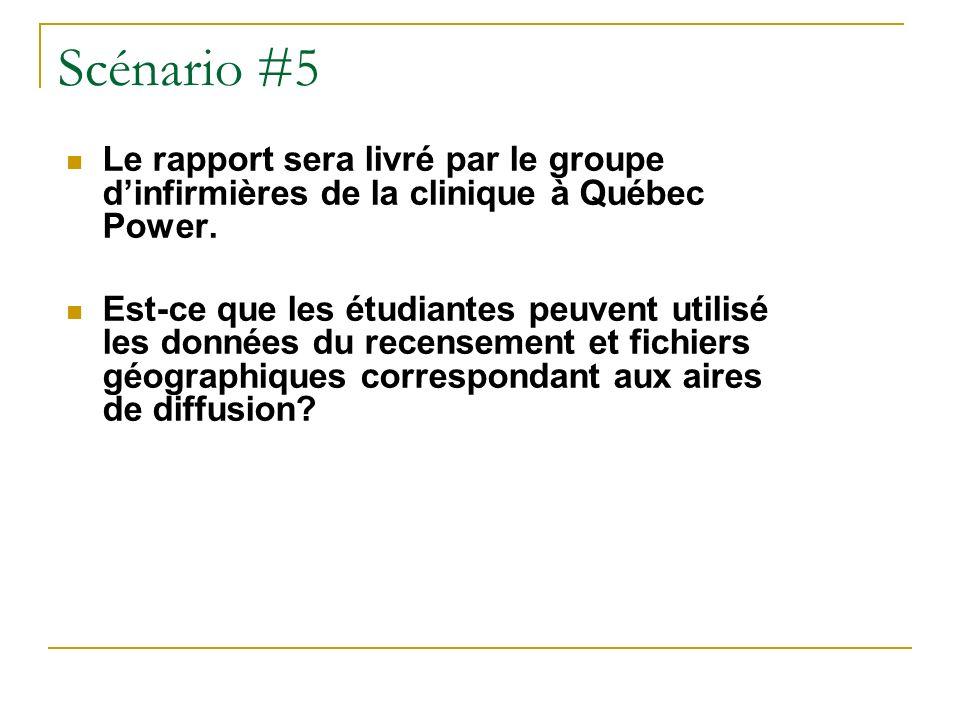 Scénario #5 Le rapport sera livré par le groupe dinfirmières de la clinique à Québec Power.