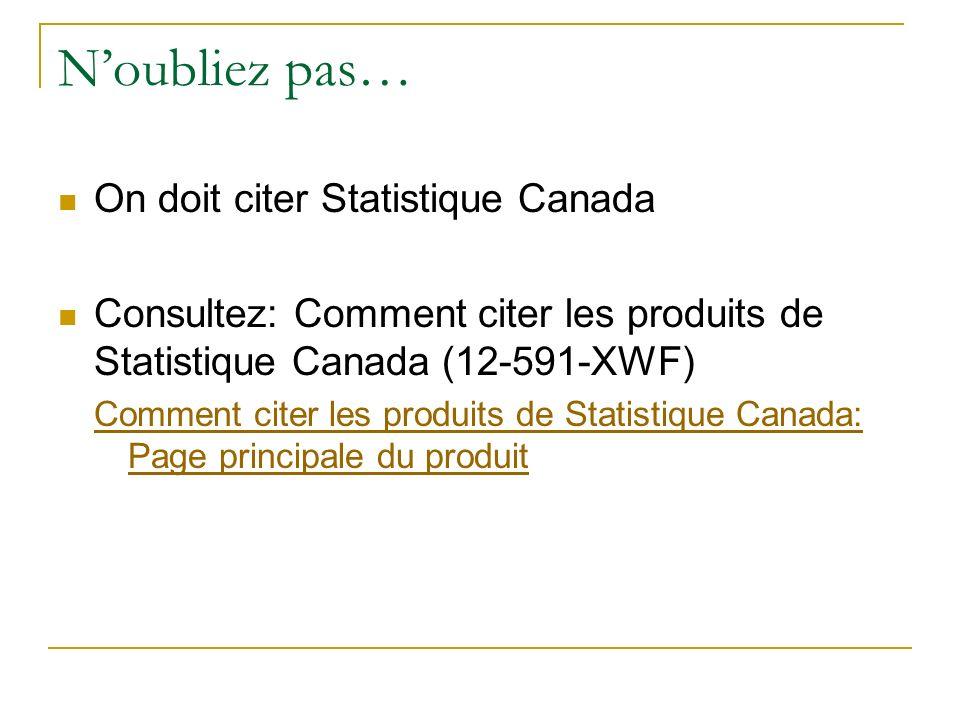 Noubliez pas… On doit citer Statistique Canada Consultez: Comment citer les produits de Statistique Canada (12-591-XWF) Comment citer les produits de Statistique Canada: Page principale du produit