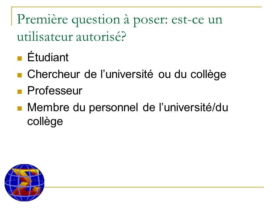 Première question à poser: est-ce un utilisateur autorisé.