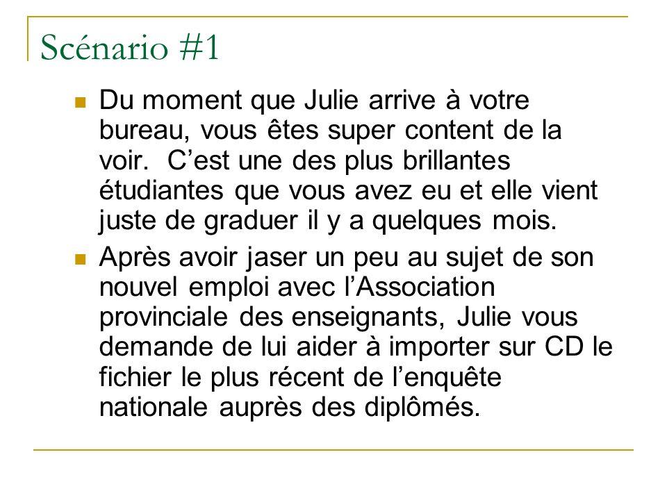 Scénario #1 Du moment que Julie arrive à votre bureau, vous êtes super content de la voir.
