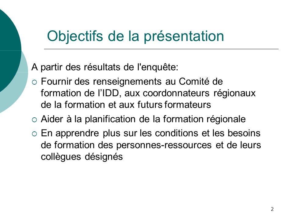 2 Objectifs de la présentation A partir des résultats de l'enquête: Fournir des renseignements au Comité de formation de lIDD, aux coordonnateurs régi