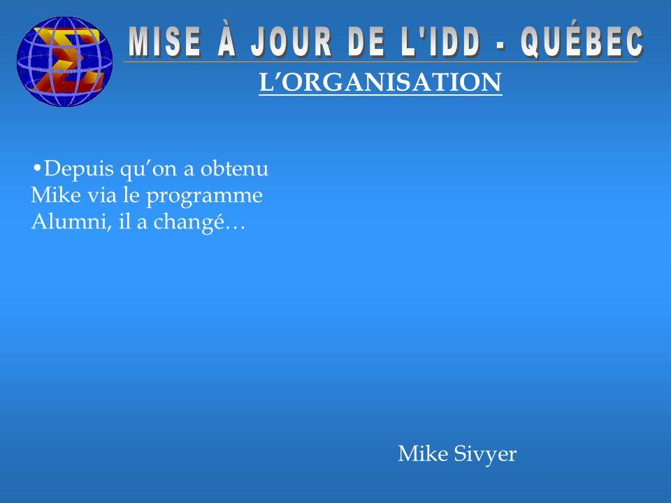 LORGANISATION Depuis quon a obtenu Mike via le programme Alumni, il a changé… Mike Sivyer