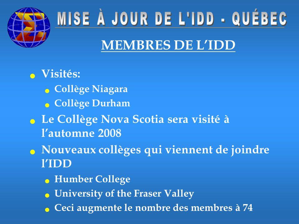 Visités: Collège Niagara Collège Durham Le Collège Nova Scotia sera visité à lautomne 2008 Nouveaux collèges qui viennent de joindre lIDD Humber College University of the Fraser Valley Ceci augmente le nombre des membres à 74 MEMBRES DE LIDD