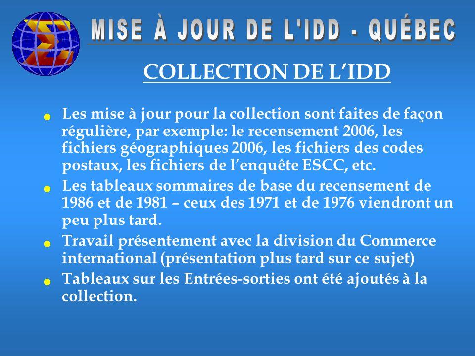 COLLECTION DE LIDD Les mise à jour pour la collection sont faites de façon régulière, par exemple: le recensement 2006, les fichiers géographiques 2006, les fichiers des codes postaux, les fichiers de lenquête ESCC, etc.