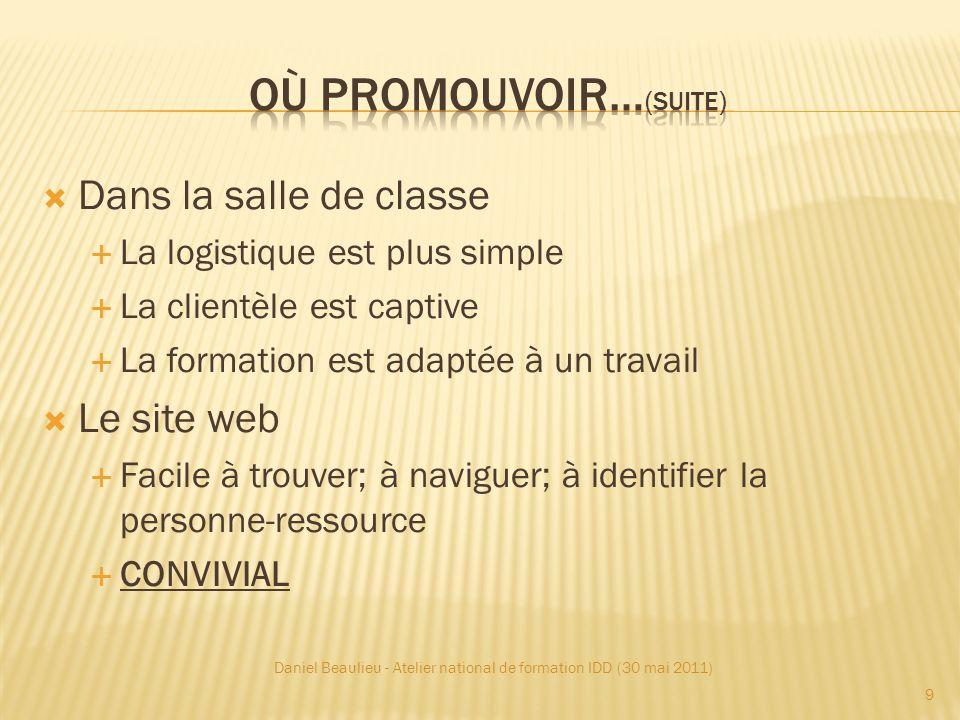 Blogue? Facebook? Twitter? Daniel Beaulieu - Atelier national de formation IDD (30 mai 2011) 30