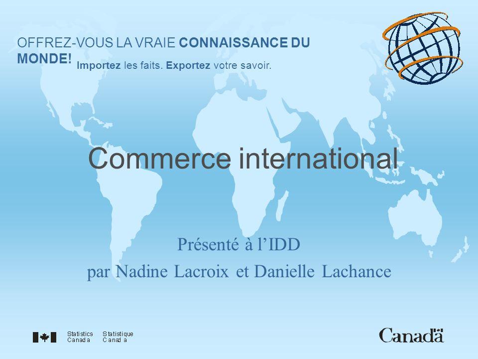 Commerce international Présenté à lIDD par Nadine Lacroix et Danielle Lachance OFFREZ-VOUS LA VRAIE CONNAISSANCE DU MONDE.