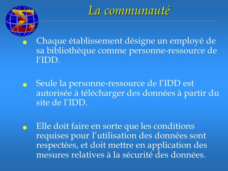 La communauté Chaque établissement désigne un employé de sa bibliothèque comme personne-ressource de lIDD.