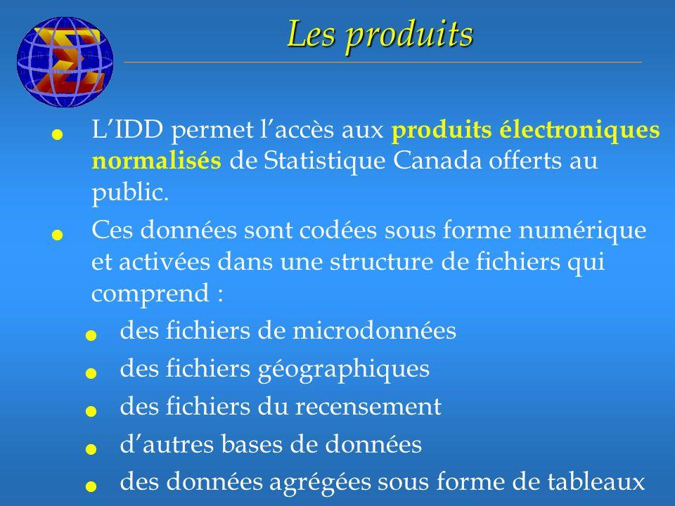LIDD permet laccès aux produits électroniques normalisés de Statistique Canada offerts au public.