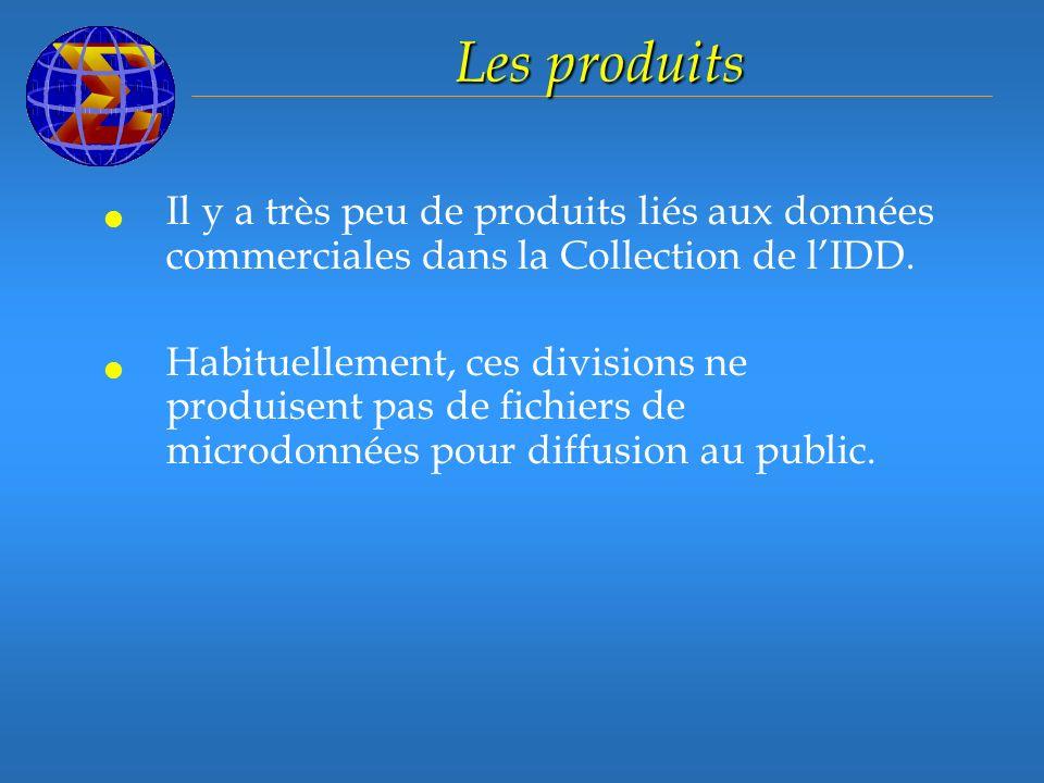 Les produits Il y a très peu de produits liés aux données commerciales dans la Collection de lIDD.